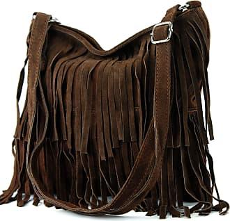 modamoda.de Ital. Leather bag Shoulderbag Shoulder bag Ladiesbag Wild leather T125, Colour:chocolate Brown