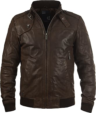 Solid Dash Mens Leather Jacket Biker Jacket with Funnel Neck Made of Genuine Leather, Size:3XL, Colour:Mocca (5050)