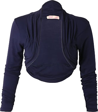 Krisp Ruched Long Sleeve Bolero Shrug, Navy, LXL, 7519-NVY-LXL