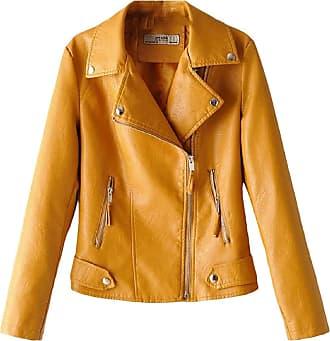 VITryst Womens Regular-Fit Oblique Zipper Patent Leather PU Moto Jacket Coat Outerwear,Yellow,X-Small