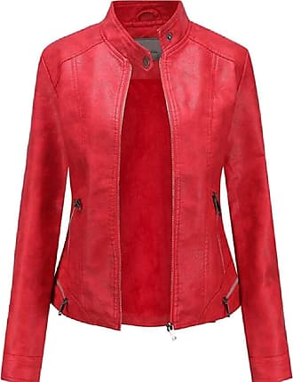 VITryst Womens PU Leather Solid Slim Fit Stand Collar Zipper Bomber Outwear Jackets Motor Jacket Coat,Red,X-Small