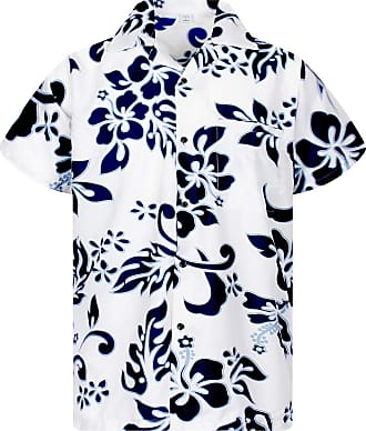 V.H.O. Funky Hawaiian Shirt, Hibiscus, Navyblue on White, 6XL