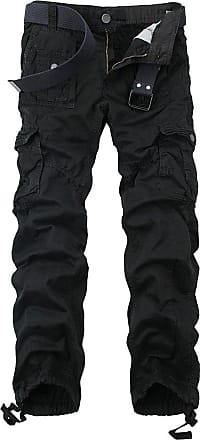 OCHENTA Ochenta mens loose-fit casual trousers water scrubbing cargo pants with multiple pockets made of cotton, 3380 Black, 42