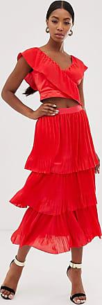 Little Mistress tiered midi skirt in poppy red