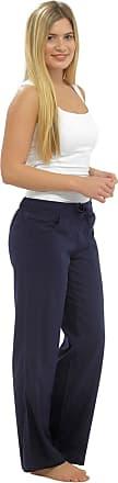 Tom Franks Womens Full-Length Linen Trousers - Blue - 12
