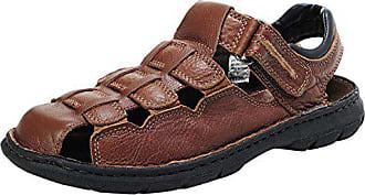 bb31d5742e9e86 Insun Herren Sandaletten Slingback Normal Flach Nein Peep-Toe Klettverschluss  Pantoletten Schuhe Braun 48