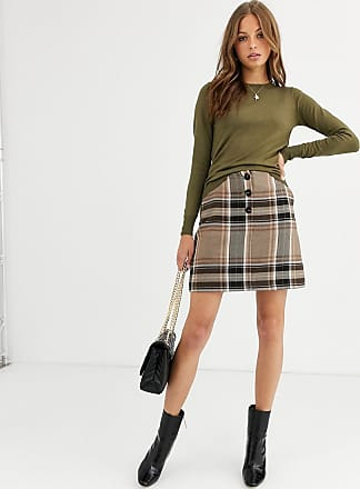 Warehouse mini skirt in check-Brown