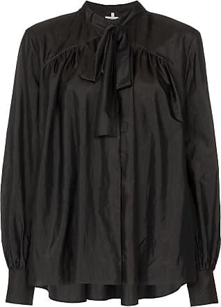 Rosie Assoulin Blusa mangas longas com amarração na gola - Preto