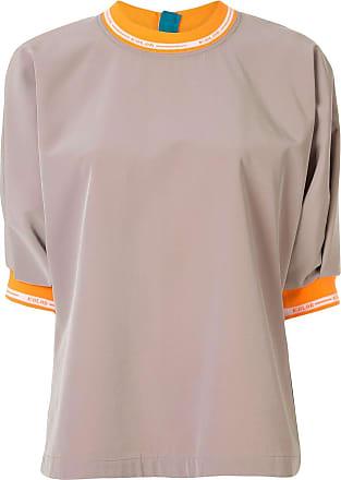 Kolor logo cuff and collar top - NEUTRALS