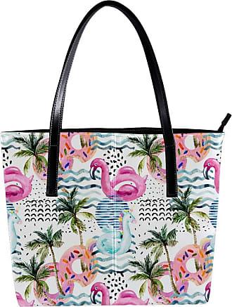 Nananma Womens Bag Shoulder Tote handbag with Cartoon Flamingo Pool Floats Palm Trees Print Zipper Purse PU Leather Top-handle Zip Bags