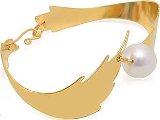 Tinna Jewelry Pulseira Dourada Folha E Pérola