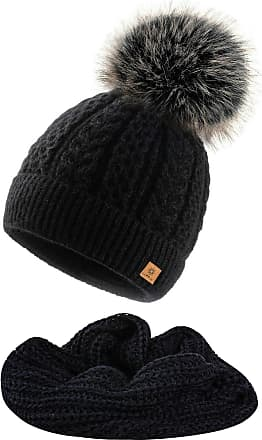 4sold Women Ladies Chunky Soft Cable Knit Hat & Scarf Natural Mohair Wool with Cosy Fleece Liner and Handmade Faux Fur Pompom - Set Atena Black
