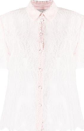 Blumarine Camisa mangas curtas translúcida com bordado - Rosa