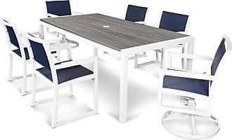 POLYWOOD Outdoor POLYWOOD Parsons Aluminum 7 Piece Rectangle Mixed Chair Patio Dining Set - TXS131-1-13TIS917