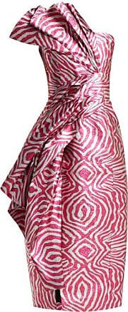 Halpern Zebra Lamé Strapless Midi Dress - Womens - Pink Multi