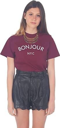 Sanfran Clothing Sanfran - Bonjour NYC New York City T-Shirt - Large/Maroon