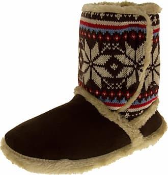 Footwear Studio Womens COOLERS Boot Slippers Warm Winter FAIR ISLE Fur Lined Slipper Booties Dark Brown Size 5-6 UK