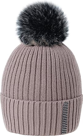 morefaz Women Ladies Winter Beanie Hat Wool Knitted Small Crystals Large Pom Pom Ski Snowboard Hats Cap (Cacao)
