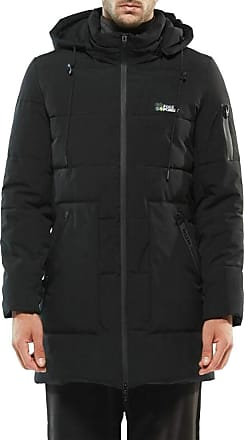 H&E Mens Big and Tall Cotton-Padded Outerwear Quilted Down Parkas Coat Black 5XL
