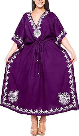 La Leela Women Long Kaftan Rayon Solid Tunic Caftans Free Size Maxi Dress Embroidered Ladies Nightwear Cover up Violet_N712 [OSFM] UK: 16 (L)-34 (4XL)