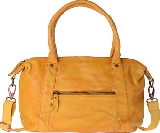 ac85a5db94 DuDu Borsa donna in pelle tinta in capo con 2 manici e tracolla DUDU  Saffron Yellow