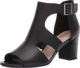 1554a746a03d Clarks Womens Deva Heidi Heeled Sandal Black Leather 120 M US
