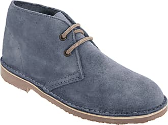 Mens Womens Ladies Roamers Round Toe Retro Suede Leather Desert Boots Navy New