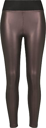 Urban Classics Ladies Faux Leather High Waist Leggings - Leggings - weinrot