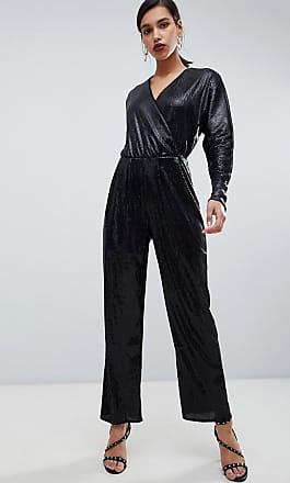 Y.A.S all over sequin wideleg jumpsuit-Black