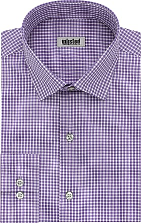 Unlisted by Kenneth Cole mensDress Shirt Slim Fit Checks and Stripes (Patterned) Spread Collar Long Sleeve Dress Shirt - Purple - 15-15.5 Neck 34-35 Sleeve (Medium)