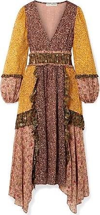 Ulla Johnson Primrose Ruffled Printed Fil Coupé Silk-blend Chiffon Dress - Mustard