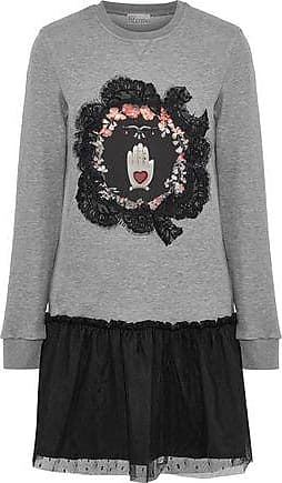 Red Valentino Redvalentino Woman Embellished French Cotton-blend Terry And Point Desprit Mini Dress Gray Size S
