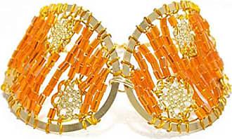 Tinna Jewelry Pulseira Dourada Gota Zig-Zag (Laranja)