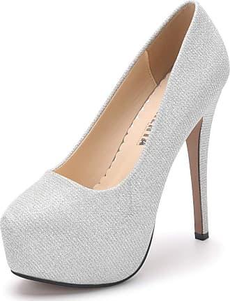 OCHENTA Womens Round Toe Stiletto High Heel Platform Slip On Pumps Glitter Sliver Asian Size 42 - UK B(M) 8.5