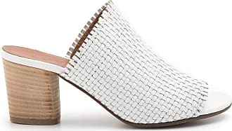 Zoe White Heel Sandals in Braided Leather - Monica 032 Braided White - Size White Size: 8 UK