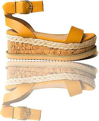 Ikrush Daisy Strappy Platform Sandals Camel UK 6 Brown