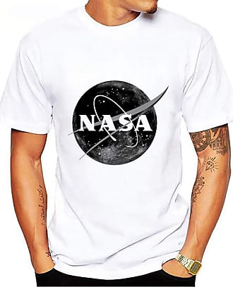 OLIPHEE Mens Printed NASA Logo T-Shirt Short Sleeves Summer Top grayball 5XL