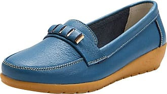 Daytwork Women Leather Moccasins - Ladies Slip on Loafers Flats Casual Round Toe Wedge Heel Driving Shoes Walking Work Office Comfort Blue