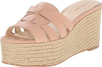 28fb68a798 Nine West Nine West Womens Eleena Leather Wedge Sandal, Natural, 10 M US