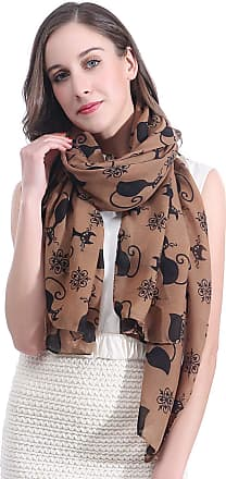 Lina & Lily Cat Kitten Print Womens Large Scarf Lightweight (Light Brown)