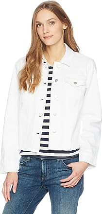 NYDJ Womens Denim Jacket with Fray Hem, Optic White, Small