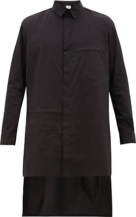 Yohji Yamamoto Longline Zip-panel Cotton-blend Shirt - Mens - Black