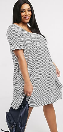 Asos Curve ASOS DESIGN Curve square neck frill sleeve smock dress in navy and cream in stripe-Multi