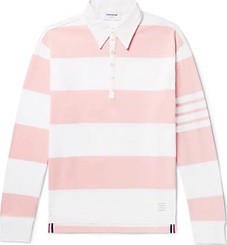 Thom Browne Striped Cotton Rugby Shirt - Pink