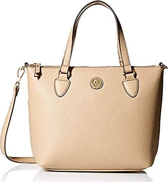 Anne Klein Womens Solid Convertible Top Zip Satchel, Chino