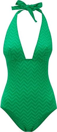 Eres Halterneck Zigzag-knitted Swimsuit - Womens - Green