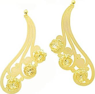 Tinna Jewelry Brinco Dourado Meia Senhorita Com Flores