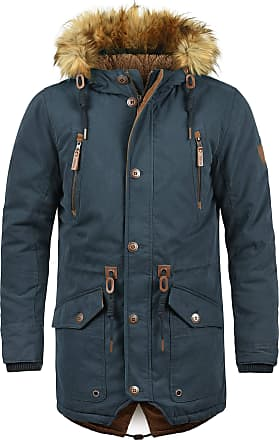 Solid Vidage Mens Parka Outdoor Jacket Winter Coat with Teddy Fleece and Fur Hood with Hood, Size:XL, Colour:Insignia Blue (1991)