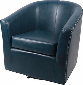 New Pacific Direct Ernest Bonded Leather Swivel Chair,Vintage Blue,Fully Assembled
