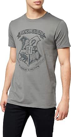 Harry Potter Mens Distressed Hogwarts T-Shirt, Grey (Charcoal), X-Large